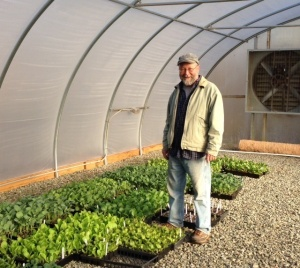 Keith Denny of Backyard Edibles shows off some of the transplants he grew for Granite Springs this spring